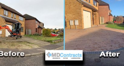 Block paving driveway in Sudbury, Suffolk.