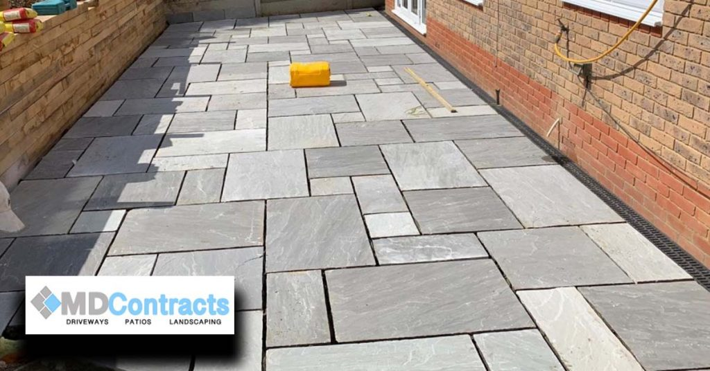 Grey sandstone patio. Colchester.