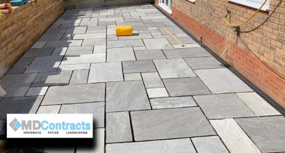 Sandstone patio in Colchester.