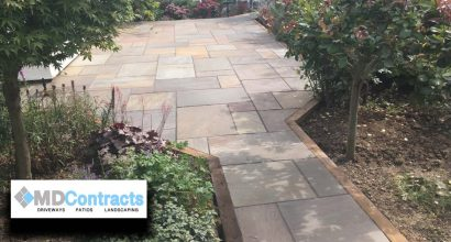 Raj green indian sandstone patio.