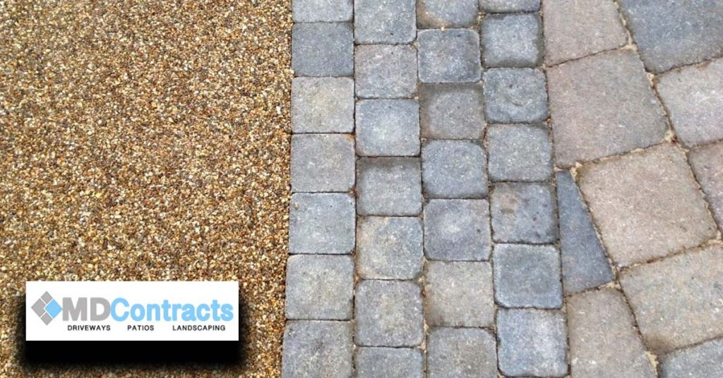 Resin bound gravel driveway with Marshalls block paving.