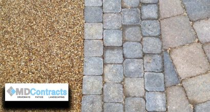 Resin bound gravel with Marshalls block paving.