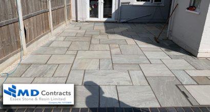 Grey sandstone patio in Colchester.