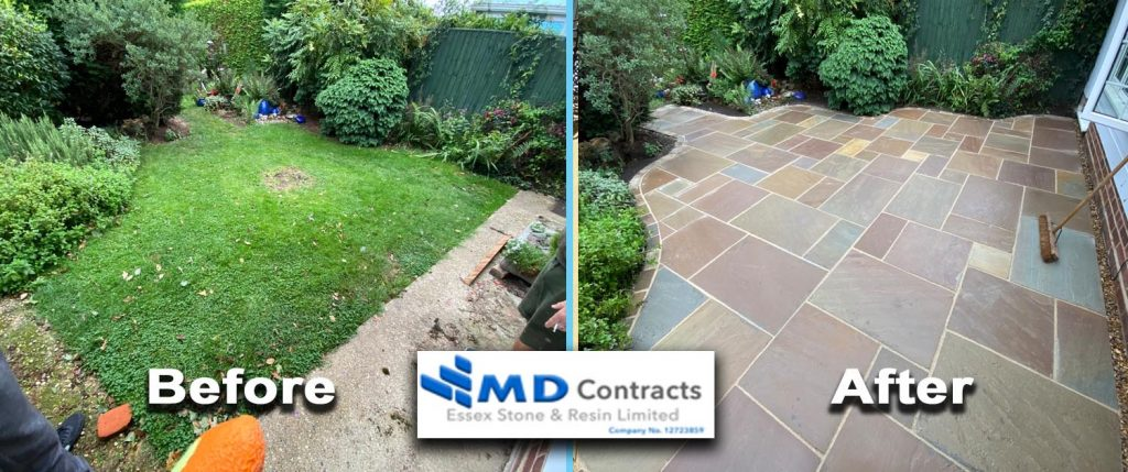 Patio paving in Sudbury, Suffolk.